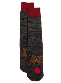 Charcoal Grey Reindeer Light Up Slipper Socks