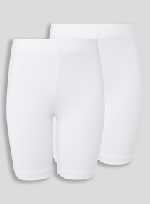 Girls White Cycle Shorts 2 Pack (3-12 years)