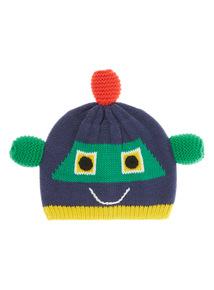 Boys Navy Little Robot Hat (0-24 months)