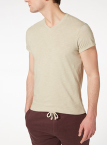 Cream V-neck T-shirt