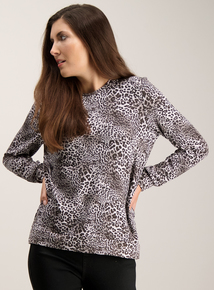 Grey Leopard Print Top