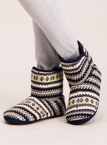 Navy Knitted Fairisle Boot Slippers