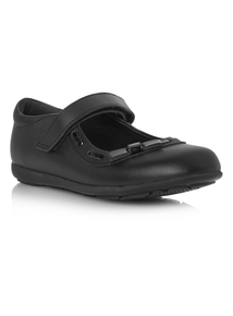 Girls Black Leather Strap Shoes