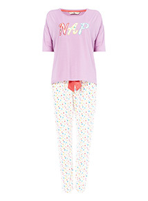 Multicoloured Nap Embroidered Pyjamas