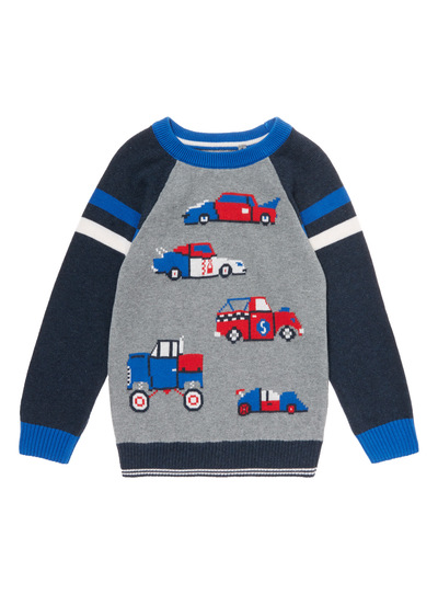 Grey Knitted Race Car Jumper (9 months - 6 years)