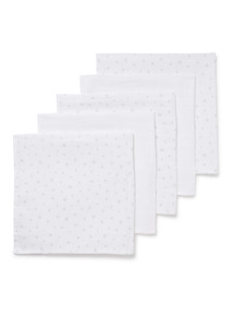 5 Pack White Muslin Squares (0-24 months)