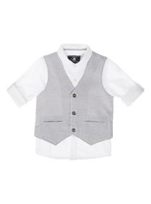 Boys Grey Shirt And Waistcoat Set (3-12 years)
