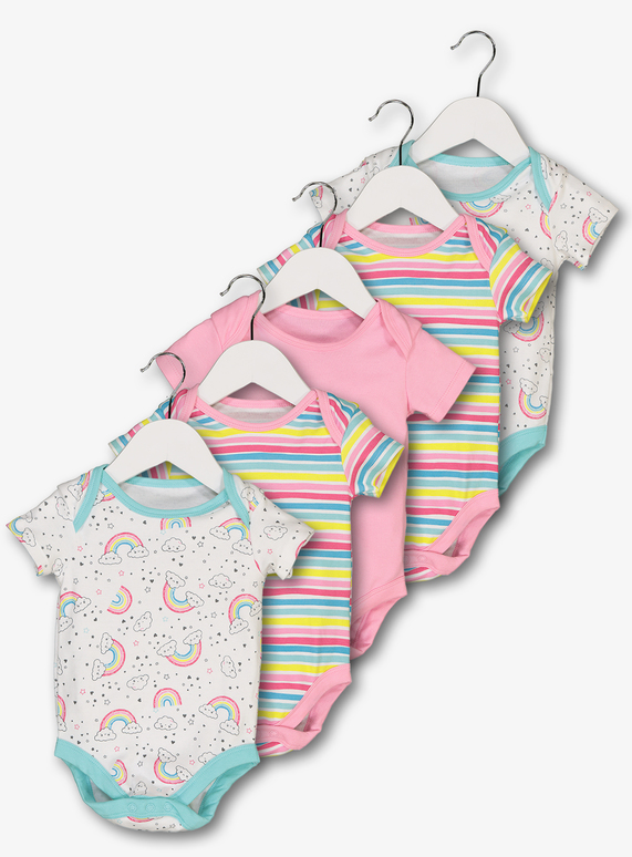 30cee87a55 Baby Multicoloured Rainbow Bodysuits 5 Pack (Newborn - 3 years)