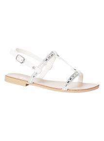 White Diamanté Embellished T-Bar Sandals