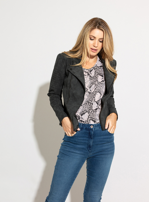 87f258fa Womens ONLY Charcoal Grey Faux Leather Biker Jacket | Tu clothing