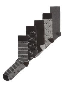 Black Bicycle Pattern Socks