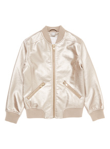 Rose Gold Metallic Bomber Jacket (3 - 14 years)