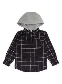 Black Check Zip Shirt With Hood (3 - 14 years)
