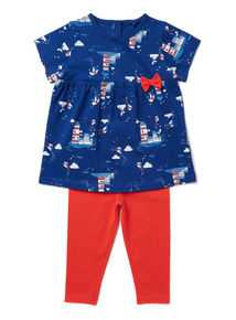 Multicoloured Seaside Print T-Shirt and Legging Set (0-24 months)