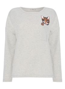 Grey Embroidered Cat Jumper
