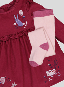 Plum Embroidered Corduroy Dress With Tights (0-24 months)
