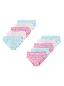 Pink Ten Pack Cutie Pie Briefs (2-12 years)