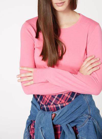 Pink Long-Sleeved Plain Top