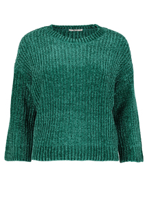 Teal Green Cropped Chenille Jumper