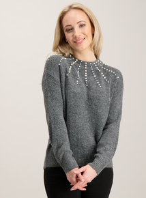 Online Exclusive PETITE Dark Grey Pearl Diamante Jumper