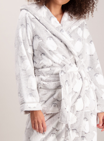 Grey Penguin Longline Dressing Gown