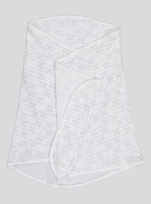 White Teddy Bear Print Swaddle Blanket (Onesize)
