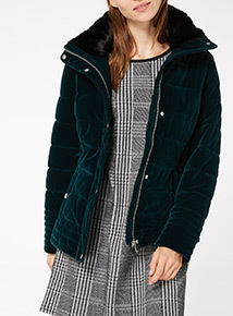 Teal Velvet Quilted Padded jacket