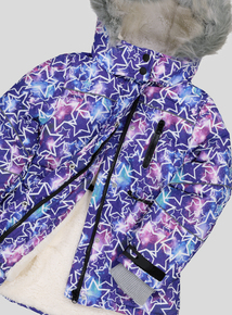 Purple Star Print Padded Jacket (3 - 14 years)