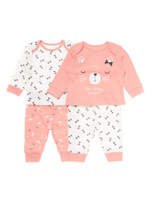 Pink Two Pack Cat Pyjama Set (3-24 months)