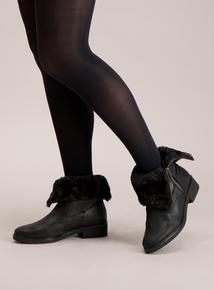 Sole Comfort Black Faux Fur Lined Biker Boots