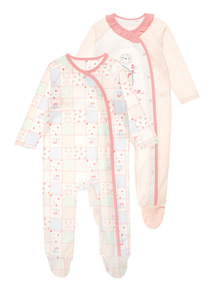 Pink Patchwork Fun Sleepsuits 2 Pack (0-24 months)