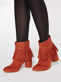 Orange Fringe and Stud Boots