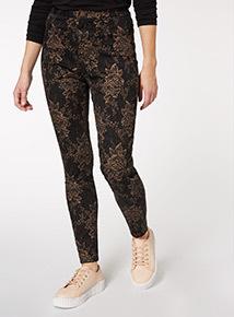 Baroque Print High Waisted Skinny Jean