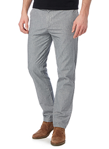 Grey Straight Leg Chambray Trousers