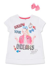 White Jojo Glitter Print T-Shirt