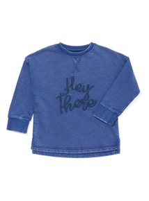 Blue Embroidered 'Hey There' Sweatshirt (9 months-6 years)