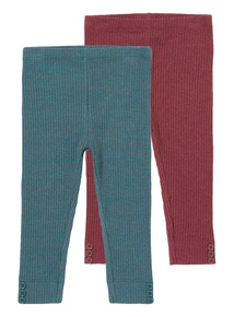 Multicoloured Ribbed Leggings 2 Pack (0-24 months)