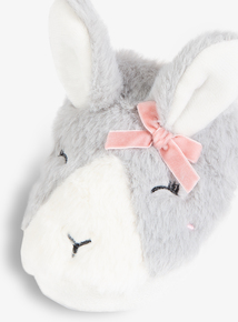 Grey & White Rabbit Faux Fur Slippers (Infant 10-4)