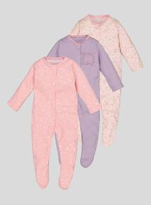 Multicoloured Animal & Stars Sleepsuits 3 Pack (Newborn -24 Months)