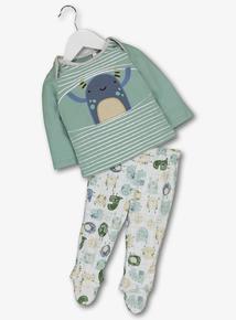 Multicoloured Monster Striped Pyjamas