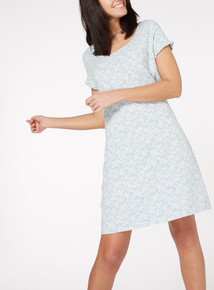 Grey Ditsy Print Sleep Dress
