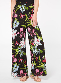 Multicoloured Tropical Palazzo Trousers