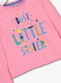 Green Glitter Lettering Jersey Top (9 Months - 6 Years)