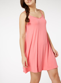 Online Exclusive Pink Lattice Trim Mini Dress