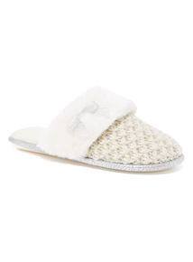 Knitted Sparkle Mule Slipper