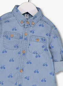 Blue Denim Bike Print Shirt (1-6 years)