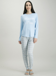 Blue 'Duvet Days' Slogan Pyjama Set