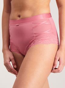 Teal & Dusky Pink Lace Trim Secret Shaping Briefs 2 Pack