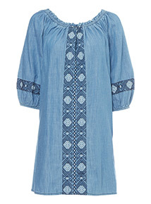 Embroidered Off The Shoulder Tunic
