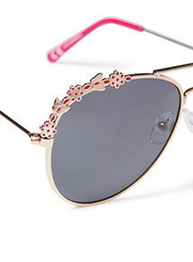 Pink Butterfly Embellished Aviator Sunglasses